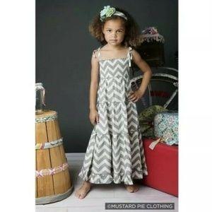 Mustard Pie Girls Zeppelin Grey Tiered Maxi Dress
